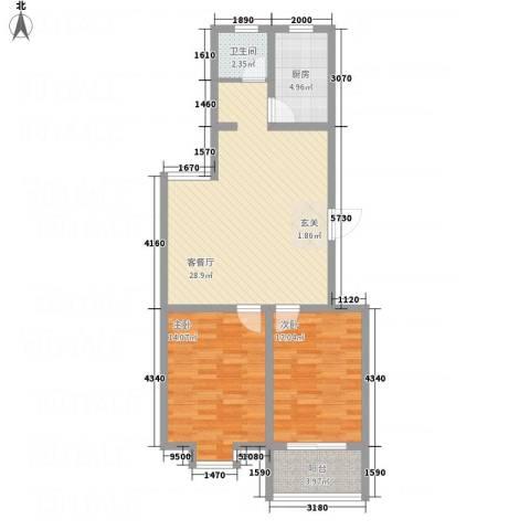 绿园爱舍2室1厅1卫1厨66.31㎡户型图