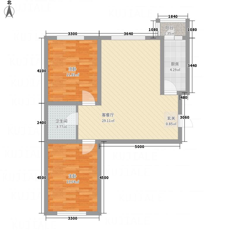 天锐益城3.18㎡1、2号楼H1户型2室2厅1卫1厨