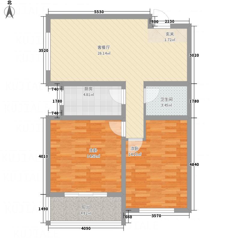 荣安广场7.11㎡户型2室2厅1卫1厨