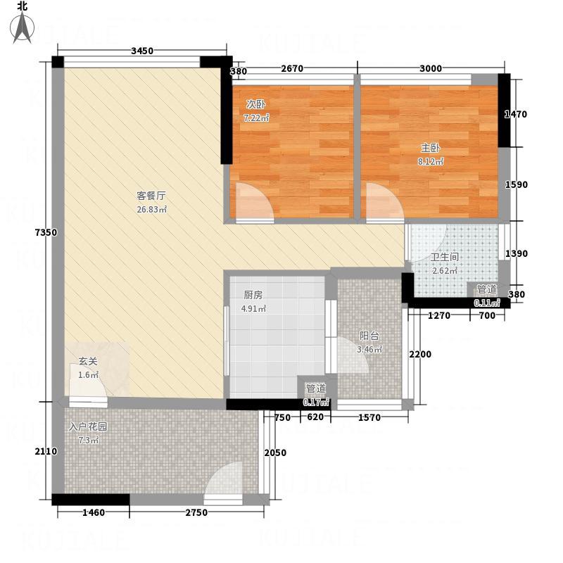 鼎湖森邻87.20㎡M1栋18层04户型2室2厅1卫1厨