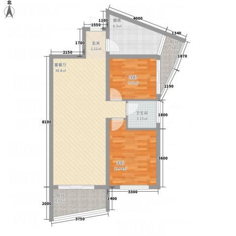 中天虹桥花园2室1厅1卫1厨96.00㎡户型图