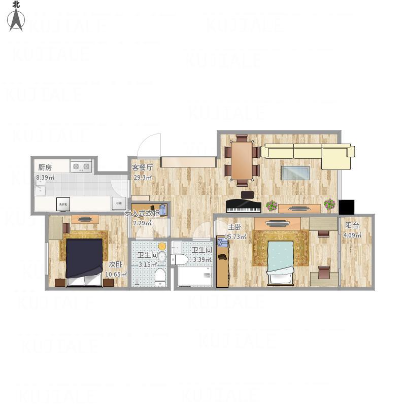 柏林爱乐三期102平米两室一厅户型图