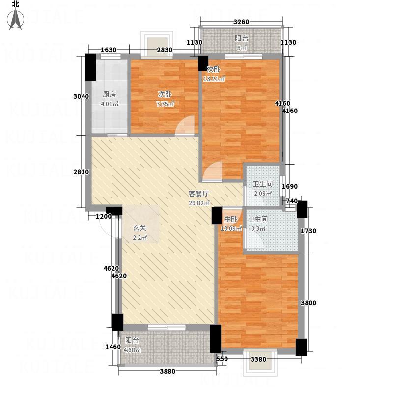 东方明珠114.00㎡1#G2户型3室2厅2卫1厨