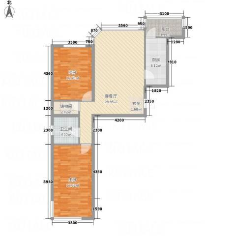 建龙水韵名城2室1厅1卫1厨76.71㎡户型图