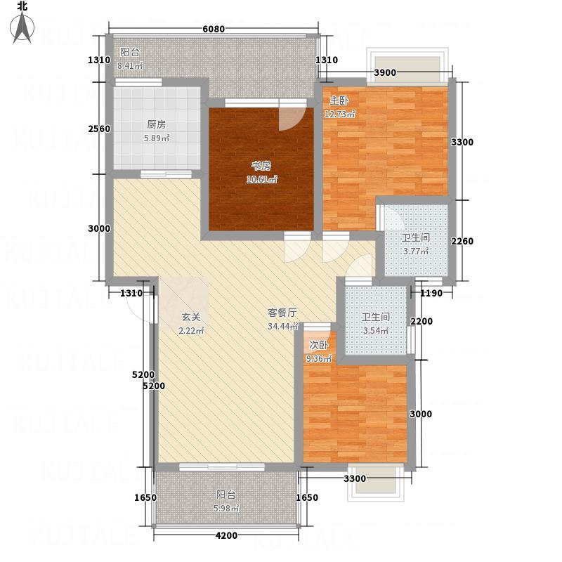 科赛智汇城一期D户型3室2厅2卫1厨