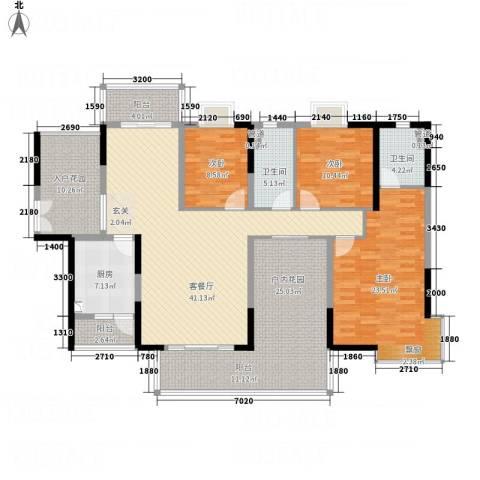 御品蓝湾3室1厅2卫1厨158.00㎡户型图