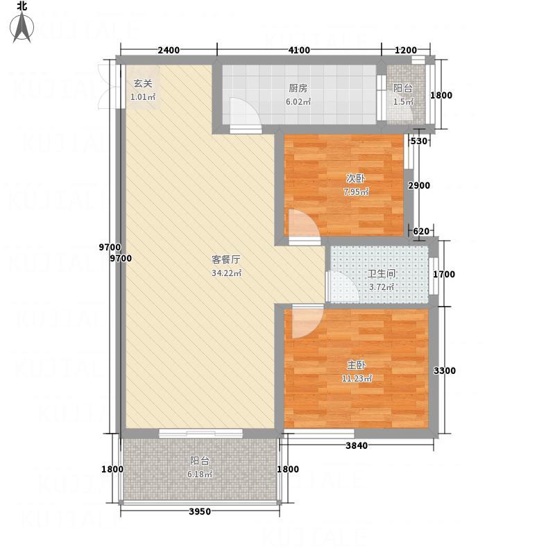 恒天・首府6.32㎡B5-1户型2室2厅1卫1厨