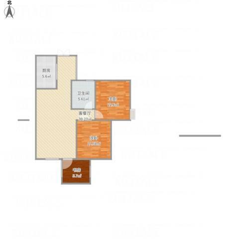 旌城一品3室1厅1卫1厨94.00㎡户型图