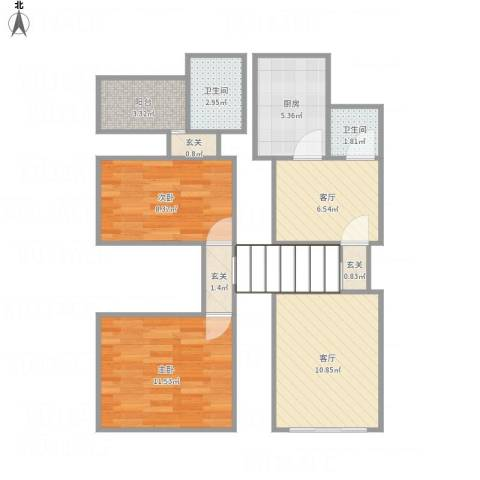 兰溪小区2室2厅2卫1厨74.00㎡户型图