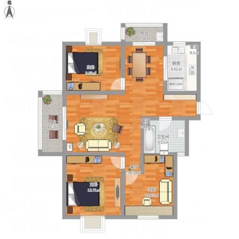 湖畔春天3室1厅1卫1厨92.96㎡户型图