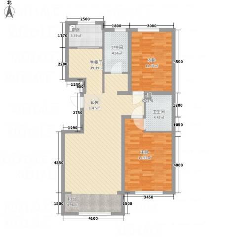 欧风花园2室1厅2卫1厨78.36㎡户型图