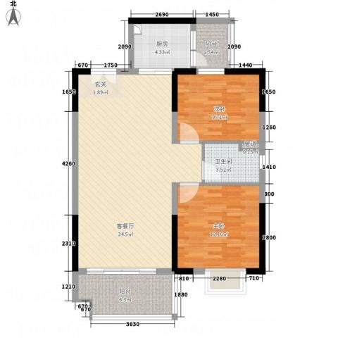 御品蓝湾2室1厅1卫1厨73.21㎡户型图