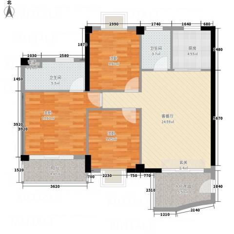 汇景蓝湾3室1厅2卫1厨116.00㎡户型图