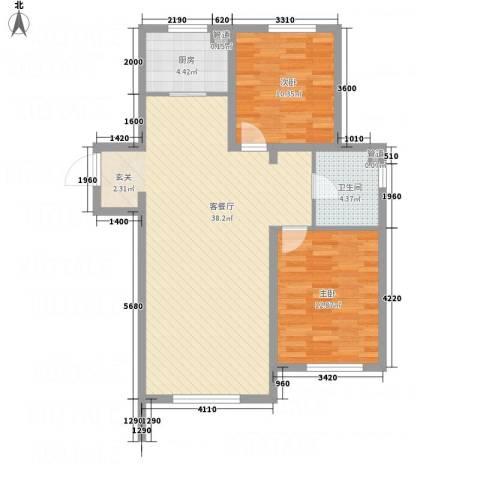 佳兆业・马德里王宫2室1厅1卫1厨70.42㎡户型图