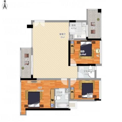 万科金色家园3室1厅4卫1厨136.00㎡户型图