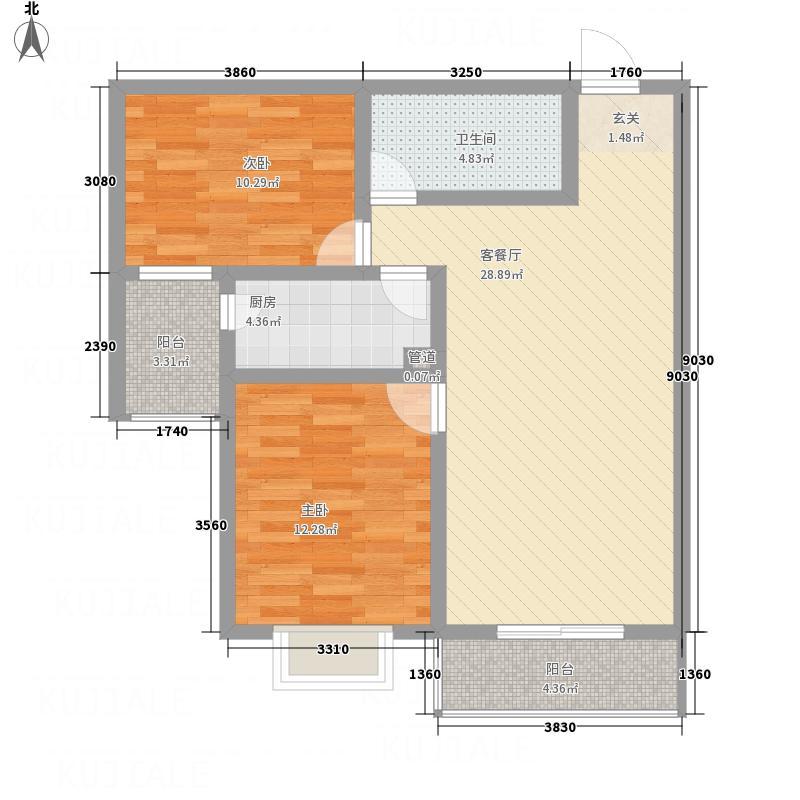 张垣新城8.30㎡单--10号楼B户型2室2厅1卫1厨