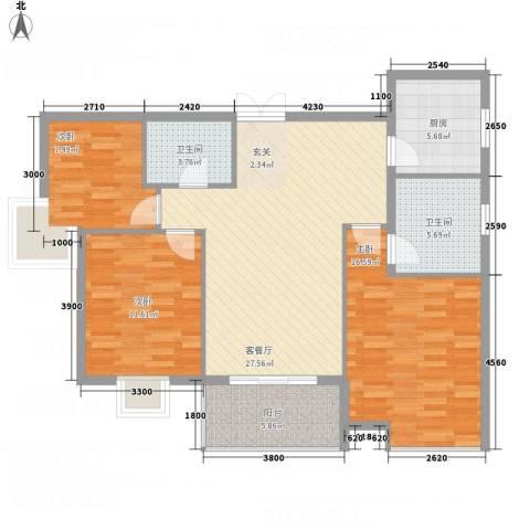 中天虹桥花园3室1厅2卫1厨117.00㎡户型图