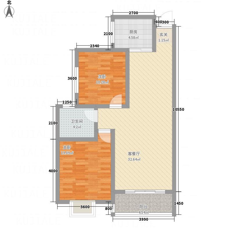 新城优家88.67㎡2号楼D户型2室2厅1卫1厨