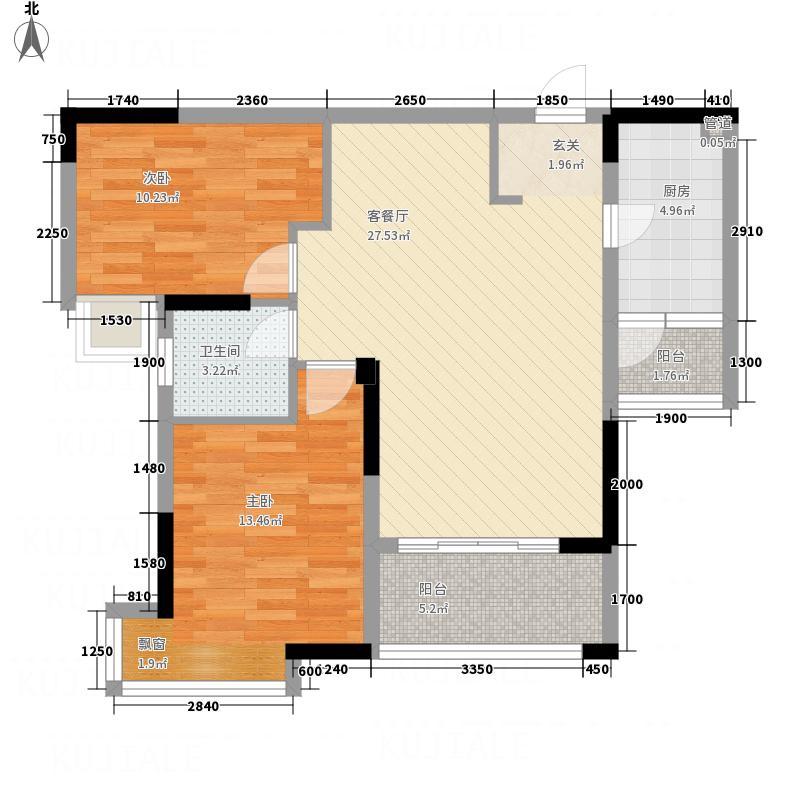 柏景湾221187.28㎡A户型2室2厅1卫1厨
