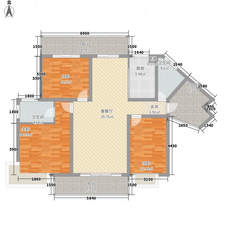 宏建天御星+入户花园户型3室2厅2卫1厨