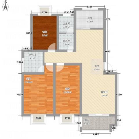 畅春园3室2厅2卫1厨119.00㎡户型图