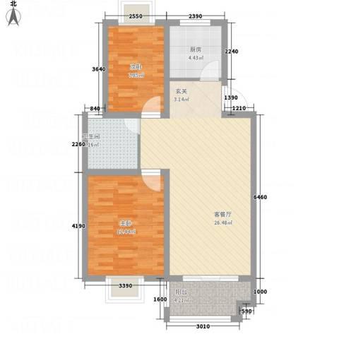 畅春园2室1厅1卫1厨86.00㎡户型图