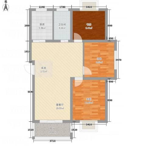 畅春园3室1厅1卫1厨105.00㎡户型图