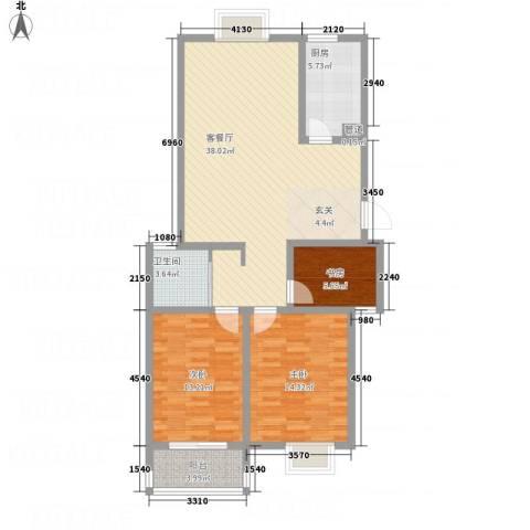 水岸人家3室1厅1卫1厨96.80㎡户型图