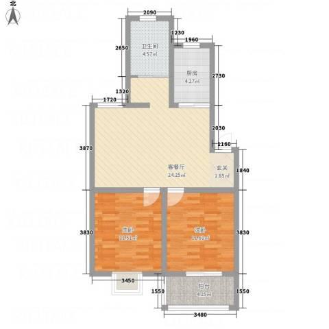 水沐楼台公寓2室1厅1卫1厨88.00㎡户型图