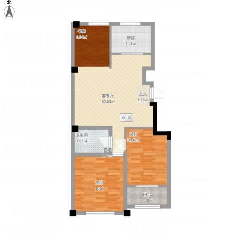 高新・锦绣北山2室1厅1卫1厨96.00㎡户型图