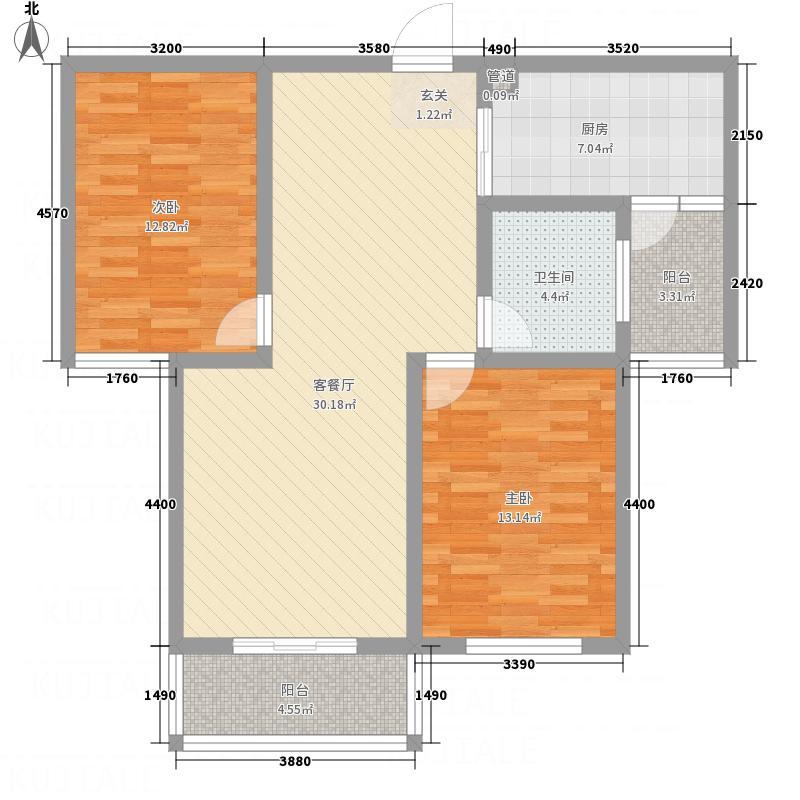 东方福地18.80㎡C户型2室2厅1卫