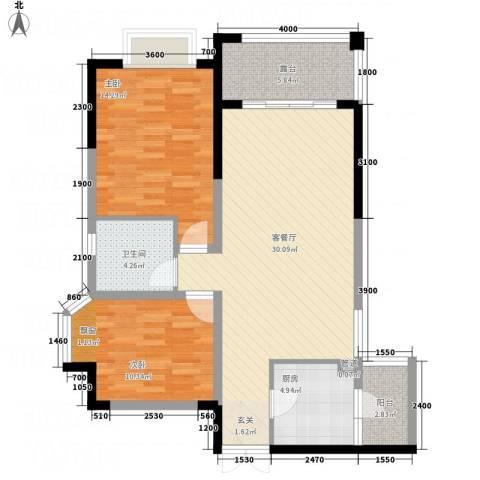 山海天2室1厅1卫1厨1287.00㎡户型图