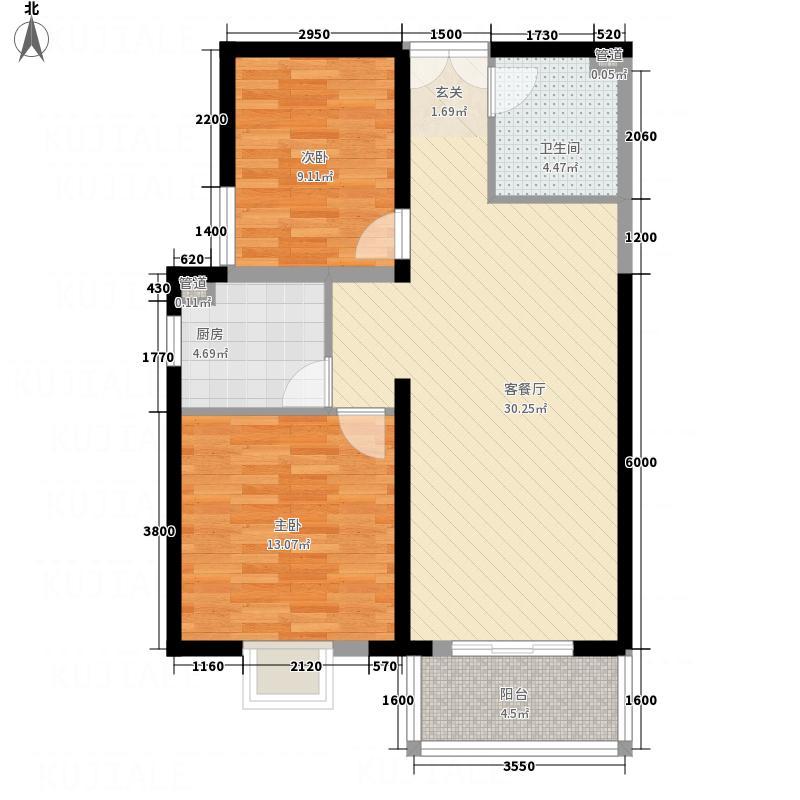 太原奥林匹克花园10号楼二户型2室2厅1卫1厨