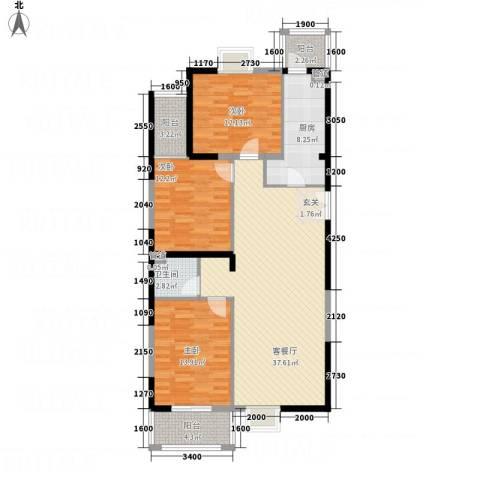 太原奥林匹克花园3室1厅1卫1厨136.00㎡户型图