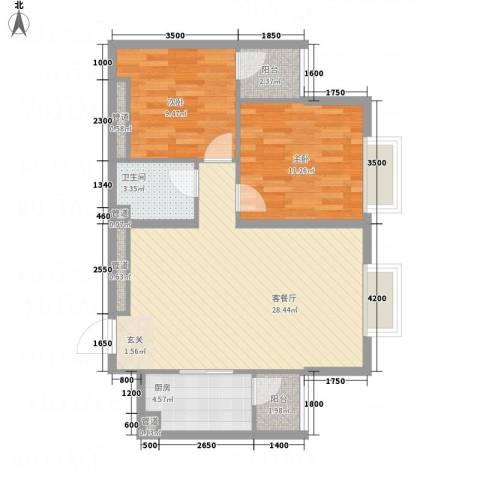 太原奥林匹克花园2室1厅1卫1厨89.00㎡户型图