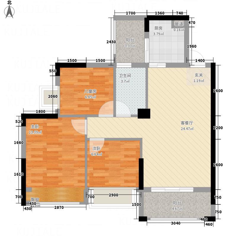 华元・奥林财富中心1#2#A1户型3室2厅1卫1厨