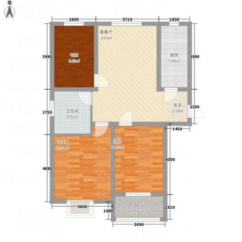 水沐楼台公寓3室1厅1卫1厨106.00㎡户型图
