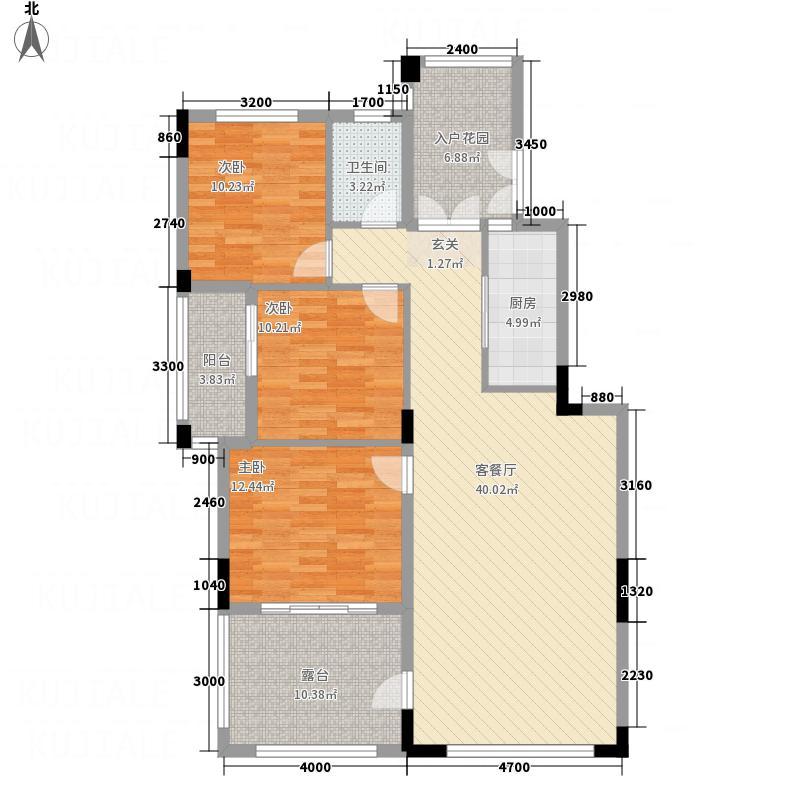 远大美域小镇115.00㎡四层边单位户型3室2厅1卫1厨