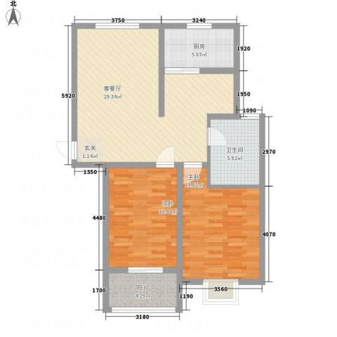 水沐楼台公寓2室1厅1卫1厨101.00㎡户型图