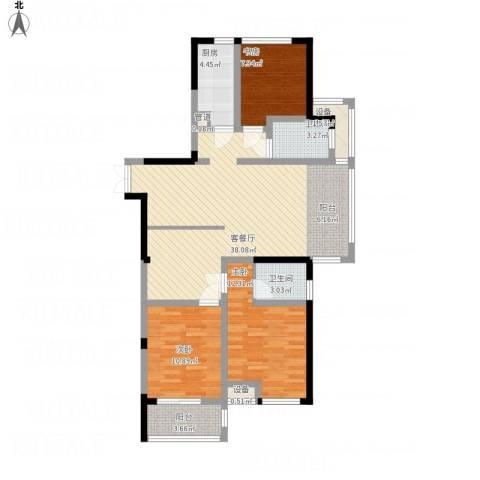 优活华庭3室1厅2卫1厨126.00㎡户型图