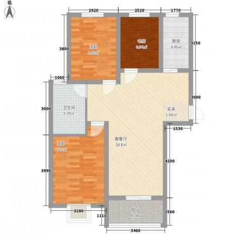 水沐楼台公寓3室1厅1卫1厨102.00㎡户型图