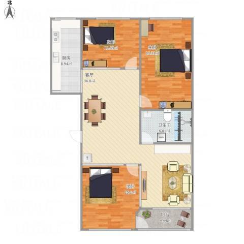 恒达花园3室1厅1卫1厨138.00㎡户型图