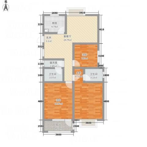 八里庄・盛世华园3室2厅2卫1厨82.72㎡户型图