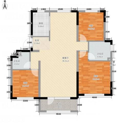 海泉湾・霞光府3室1厅2卫1厨127.00㎡户型图