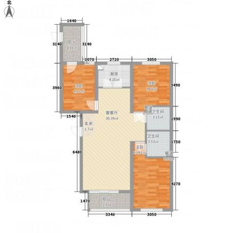 全都城悦府3室1厅2卫1厨117.00㎡户型图