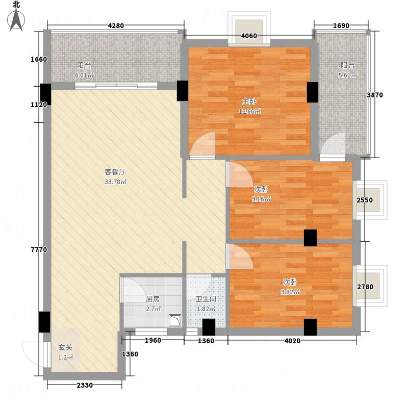 茂达居115.51㎡08户型3室2厅1卫1厨