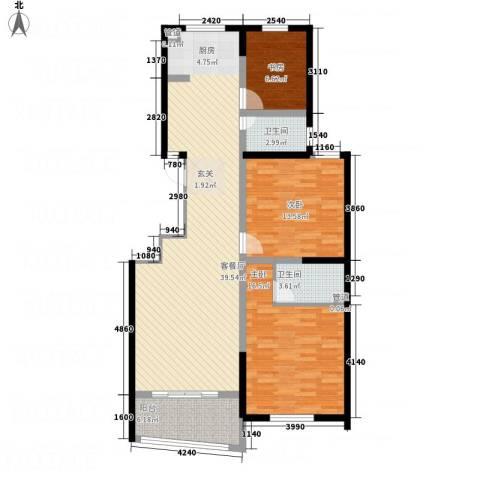 天华・明珠3室1厅2卫0厨127.00㎡户型图