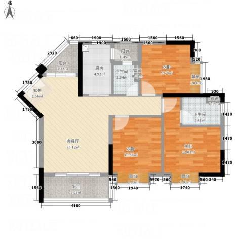 御品蓝湾3室1厅2卫1厨77.41㎡户型图