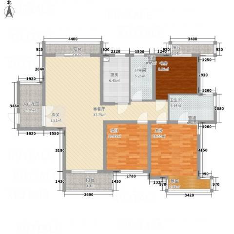 建筑十策3室1厅2卫1厨155.00㎡户型图