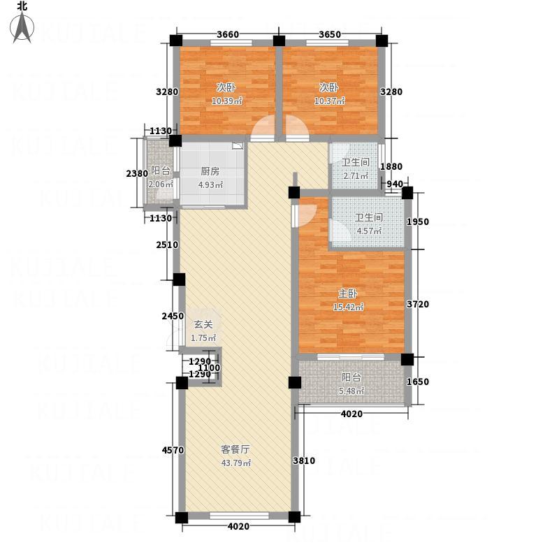 壹号公馆128.75㎡花园洋房B6户型3室2厅2卫1厨